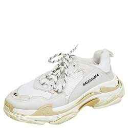 Balenciaga Multicolor Leather And Mesh Triple S Low Top Sneakers Size 44