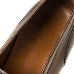 Bally Brown Leather Brignant Slip On Loafers Size 40.5
