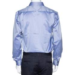 Balmain Lilac Cotton Button Front Long Sleeve Shirt M