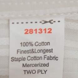 Balmain Cream Striped Cotton Long Sleeve Button Front Two Ply Shirt L
