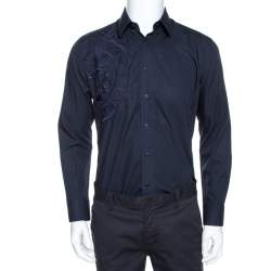 Balmain Navy Blue Logo Embroidered Cotton Casual Fit Shirt M