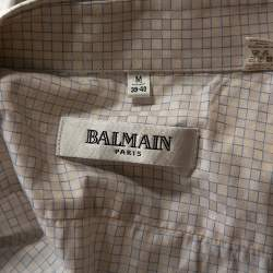 Balmain Off White Checked Herringbone Cotton Long Sleeve Shirt M