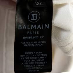 Balmain White Distressed Denim Slim Fit Jeans M
