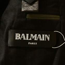 Balmain Military Green Gabardine Contrast Lapel Blazer XXXS