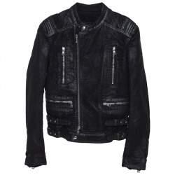 Balmain Black Coated Cotton Zip Front Biker Jacket S