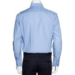 Balmain Blue Circle Print Cotton Long Sleeve Shirt L