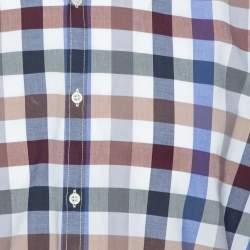 Balmain Paris Multicolor Gingham Checked Cotton Button Down Shirt L