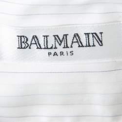 Balmain White Striped Cotton Button Front Slim Fit Two Ply Shirt L