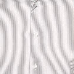 Balmain Cream & Brown Striped Cotton Button Front Slim Fit Two Ply Shirt L
