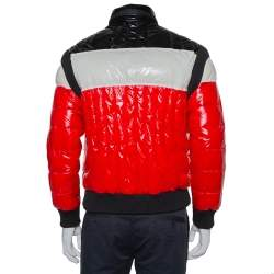 Balmain Tricolor Synthetic Quilted Hooded Puffer Jacket L