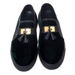 Balmain Green/Black Velvet and Leather Tassel Slip On Sneakers Size 39