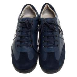 Balmain Blue Perforated Leather And Suede Lace Up Sneakers Size 43