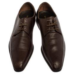 Balmain Brown Leather Lace Up Oxfords Size 43