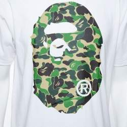 A Bathing Ape White Camo Logo Print Cotton Crew Neck T-Shirt L