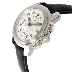 Baume & Mercier Silver Stainless Steel and Leather Capeland MV045216 Men's Wristwatch 38MM