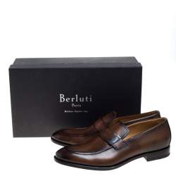 Berluti Brown Leather Reflet Slip On Loafers Size 42.5