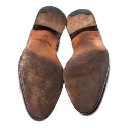 Berluti Cognac Brown Leather Signature Stitched Slash Oxfords Size 44