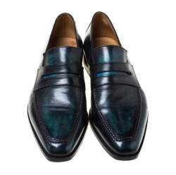 Berluti Black Leather Penny Loafers Size 42.5