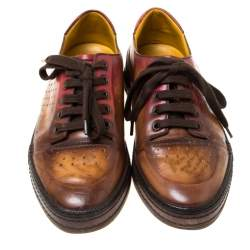 Berluti Brown Ombre Leather Playtime Low Top Sneakers Size 42