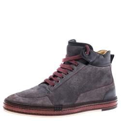 Berluti Grey Suede Leather High Top Sneakers Size 42.5