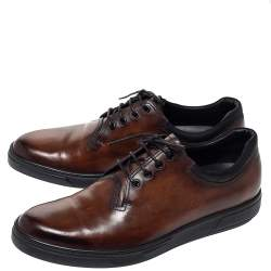 Berluti Brown Tibeta Leather Lace Up Derby Size 42.5