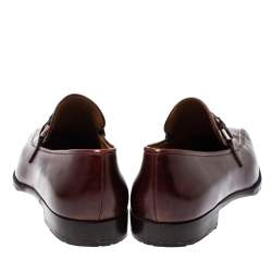 Berluti Bordeaux Leather Vamp Strap And Stitch Detail Slip On Loafers Size 45