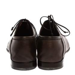 Berluti Dark Brown Leather Signature Stitched Oxfords Size 41.5
