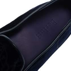 Berluti Blue Velvet Smoking Slippers Size 41.5