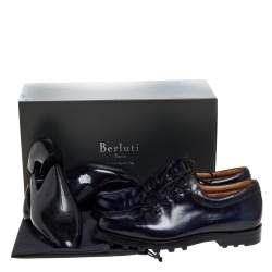 Berluti Blue Leather Lace Up Oxfords Size 41.5