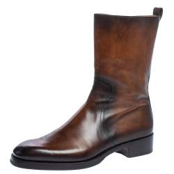 Berluti Two Tone Leather Ankle Boots Size 41.5