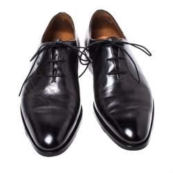 Berluti Black Leather Lace Up Oxford Size 41