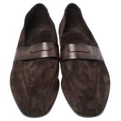 Berluti Brown Leather And Suede Penny Loafers Size 42