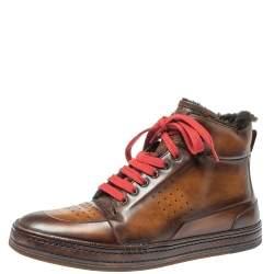 Berluti Brown/Black Leather Playtime Fur High Top Sneakers Size 42.5