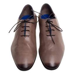 Berluti Brown Leather Lace Up Oxfords Size 43