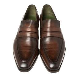 Berluti Brown Leather Penny Loafers Size 41.5