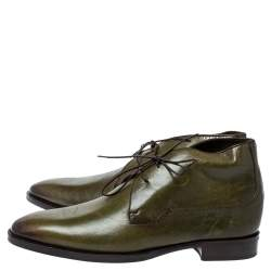 Berluti Military Green Leather Ankle Boots Size 41