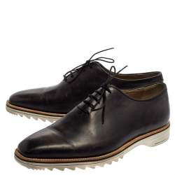 Berluti Grey Leather Lace Up Oxfords Size 41.5