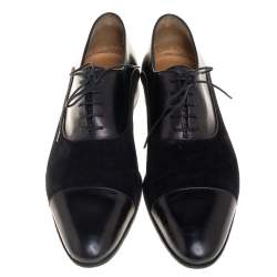Berluti Black  Suede And Leather Lace Up Oxford Size 44