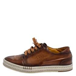 Berluti Brown Ombre Leather Playtime Low Top Sneakers Size 41.5
