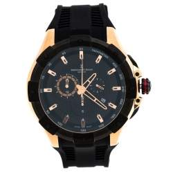 Bernhard H. Mayer Black Rose Gold Plated Steel Victor Chronograph Men's Wristwatch 50 mm
