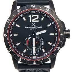 Bernhard H. Mayer Black PVD Plated Stainless Steel Rubber Drift Glider BH11/CW Men's Wristwatch 44 mm
