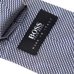 Boss by Hugo Boss Navy Blue and White Checkered Silk Tie