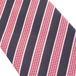 Boss by Hugo Boss Red and Grey Diagonal Striped Silk Jacquard Tie
