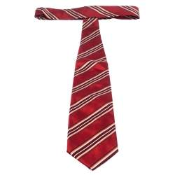 Boss By Hugo Boss Red Diagonal Striped Jacquard Traditional Silk Tie