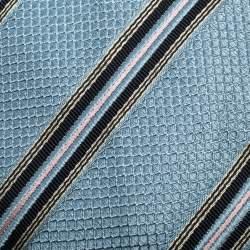 Boss By Hugo Boss Blue Diagonal Striped Jacquard Silk Tie