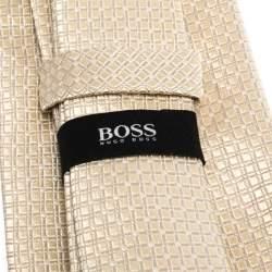Boss By Hugo Boss Cream Check Pattern Jacquard Silk Tie