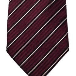 Boss By Hugo Boss Maroon Diagonal Striped Silk Tie