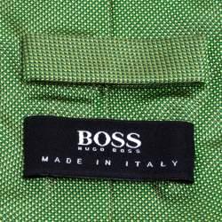 Boss By Hugo Boss Green Jacquard Silk Tie