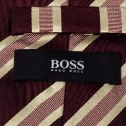 Boss By Hugo Boss Burgundy Striped Silk Tie