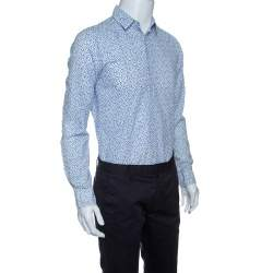 Boss Orange By Hugo Boss White and Blue Floral Printed Long Sleeve Shirt S